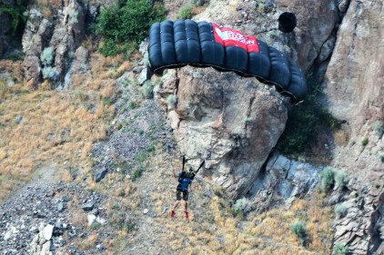 Base Jumper looks for landing